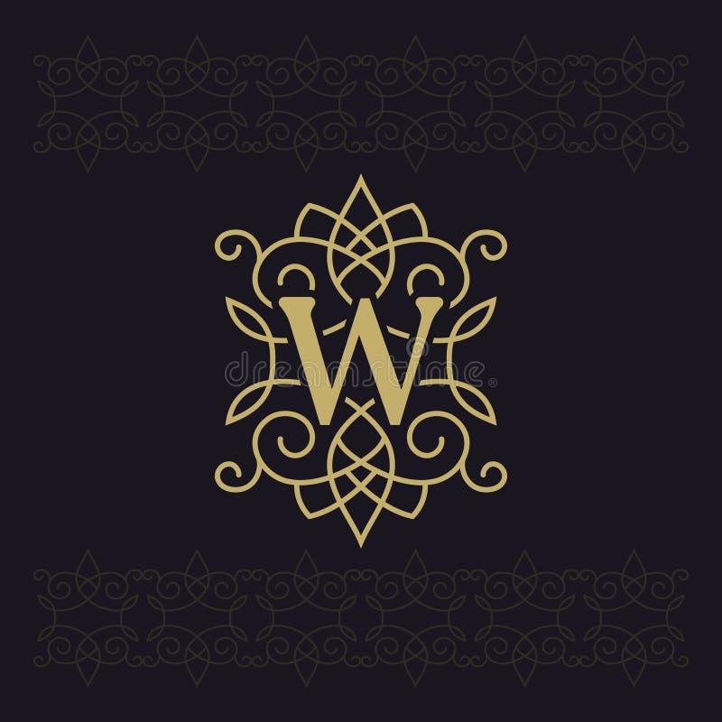 Kapitałowy list W Piękny monogram Elegancki logo kaligraficzny projektu Luksusowy emblemat Rocznika ornament Prosty grafika styl royalty ilustracja