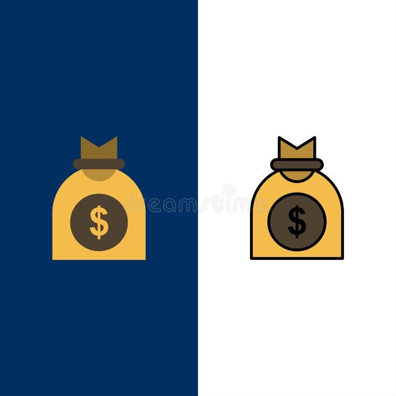 Kapitał, pieniądze, przedsięwzięcie, Biznesowe ikony Mieszkanie i linia Wypełniający ikony Ustalony Wektorowy Błękitny tło royalty ilustracja