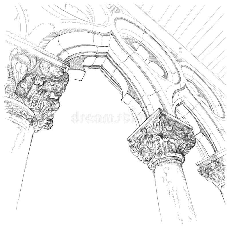 Kapitalen van de kolom van het Paleis van de Doge royalty-vrije illustratie