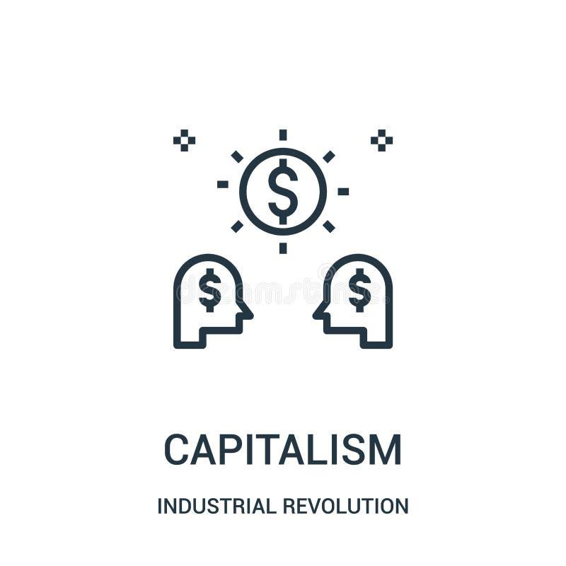 kapitalismsymbolsvektor från samling för industriell revolution Tunn linje illustration för vektor för kapitalismöversiktssymbol stock illustrationer