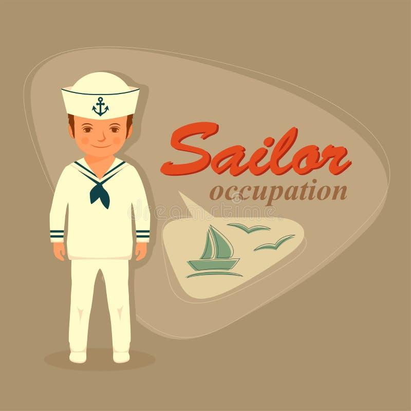 Download Kapitan, żeglarz kreskówka ilustracja wektor. Ilustracja złożonej z kotwica - 57674372