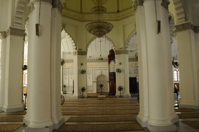 Kapitan Keling清真寺内部在槟榔岛 图库摄影