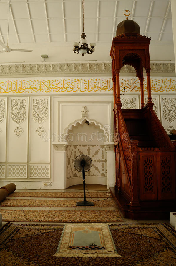 Kapitan Keling清真寺米哈拉布在槟榔岛 图库摄影