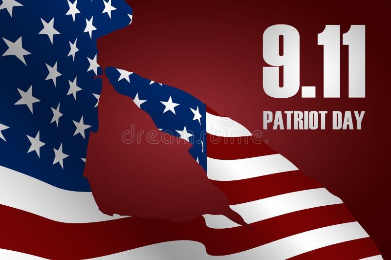 Kapitan salutuje usa flaga dla dnia pamięci Patriota dnia plakat lub sztandaru †Na Wrześniu 11 ' ilustracji