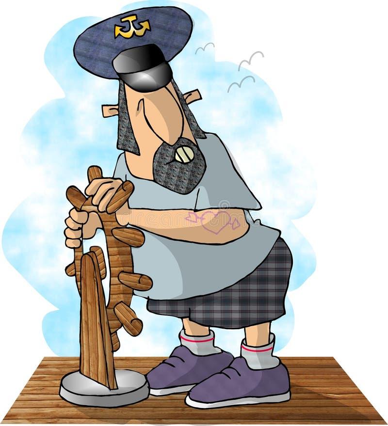 kapitan statku s ilustracji