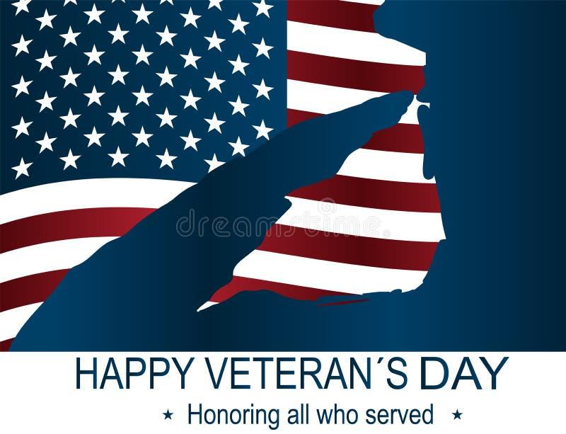 Kapitan sylwetka salutuje usa flaga dla dnia pamięci Szczęśliwy weterana ` s dnia plakat lub sztandaru †Na Listopadzie 11 ' ilustracja wektor
