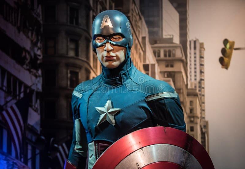 Kapitein America, wasbeeldhouwwerk, Mevrouw Tussaud royalty-vrije stock fotografie