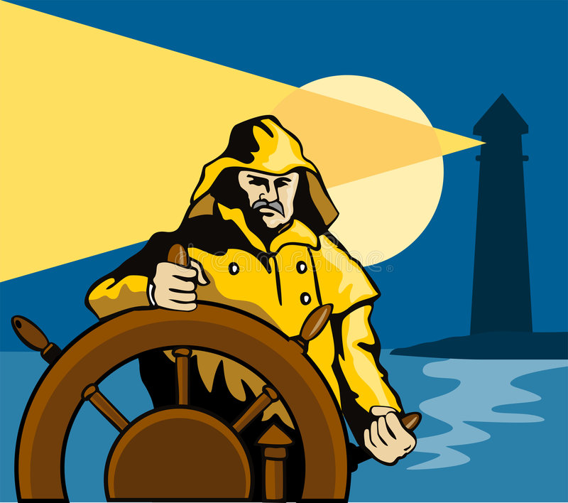 Kapitein bij het roer van een schip royalty-vrije illustratie