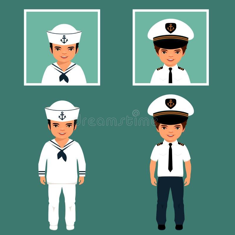 kapitein en zeeman vector illustratie