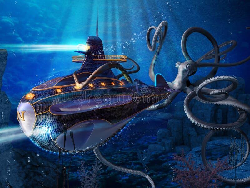 Kapitein Nemo Nautilus Submarine Attack stock illustratie