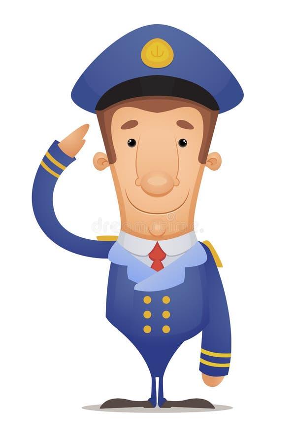 Kapitein Saluting royalty-vrije illustratie