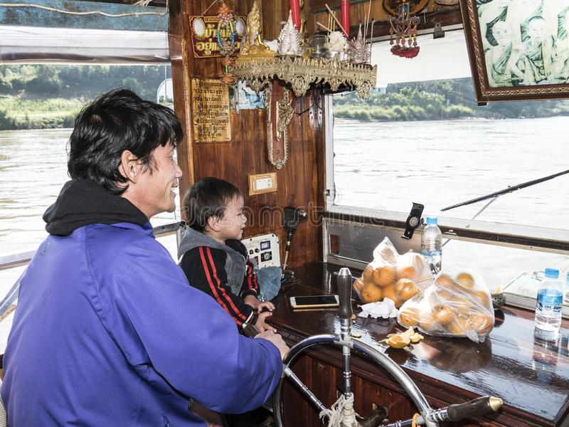 Kapitein van de mekong riviercruise royalty-vrije stock foto's