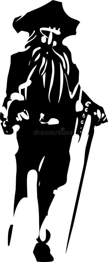 Kapitein van de pin legged Piraat stock illustratie