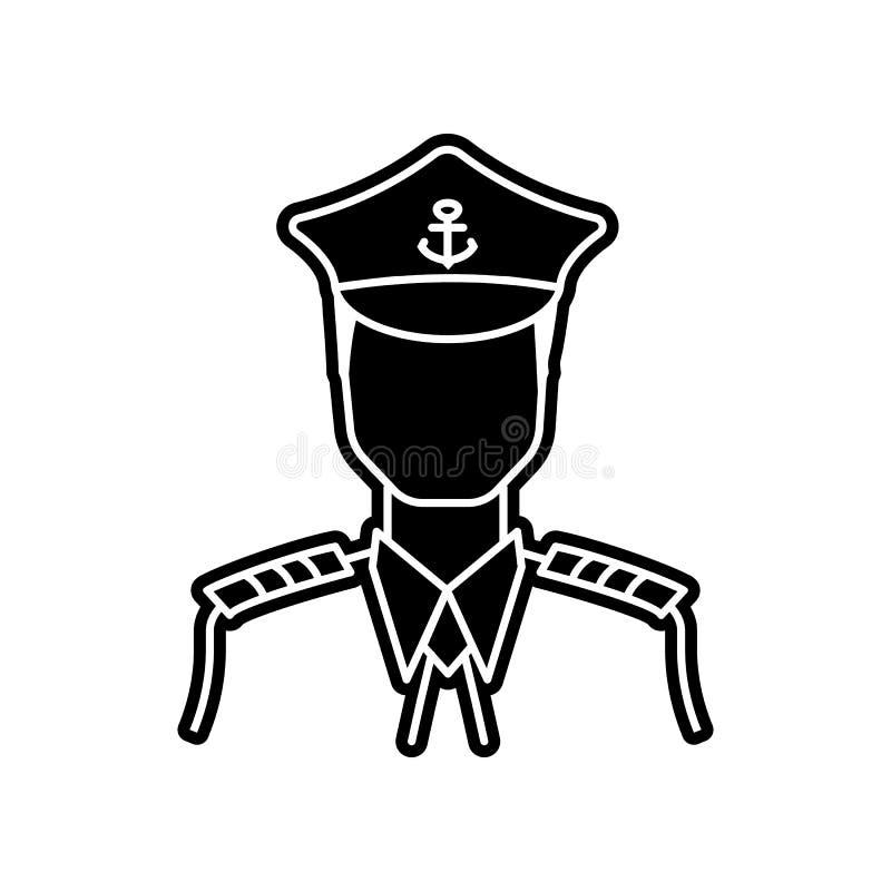 kapitein van het schippictogram E Glyph, vlak pictogram voor websiteontwerp en royalty-vrije illustratie