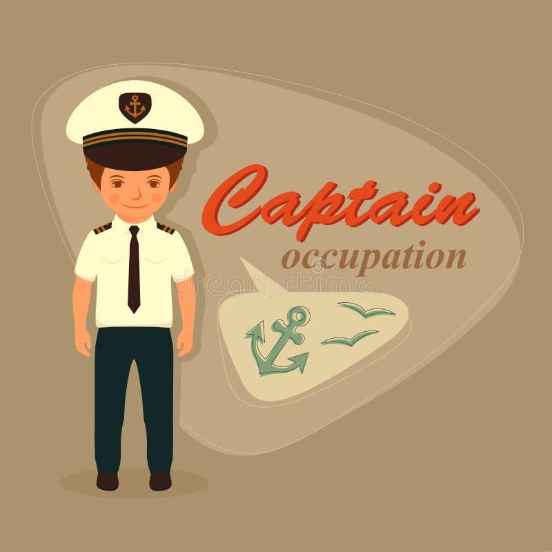 Kapitein, zeemansbeeldverhaal stock illustratie