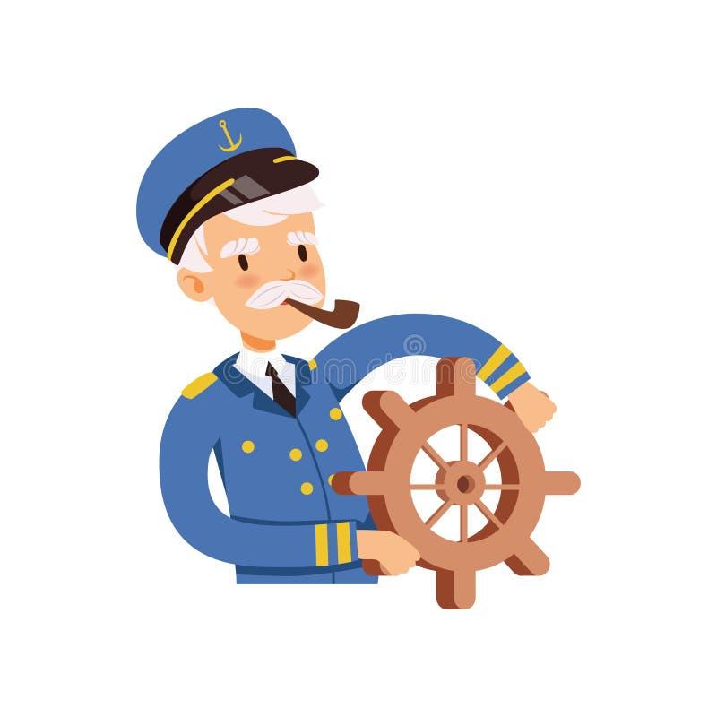 Kapiteinskarakter achter het wiel, zeeman in blauwe eenvormige rokende pijp vectorillustratie vector illustratie