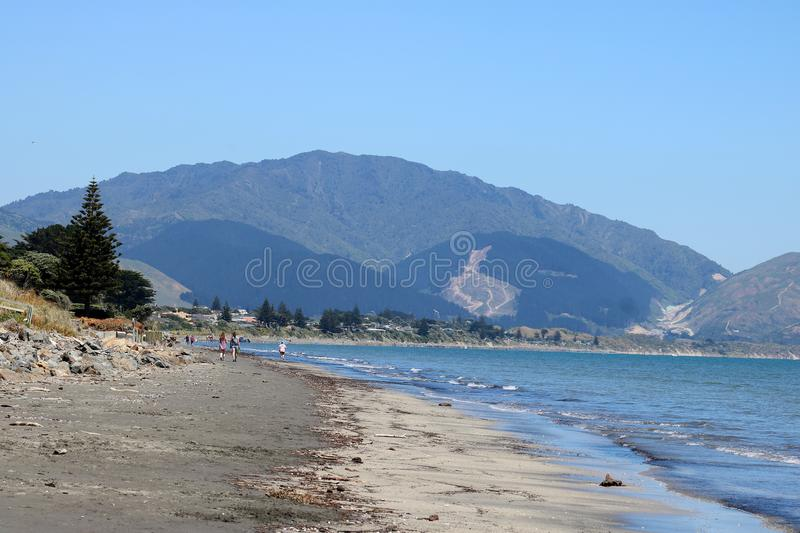 Kapiti Coast shore, North Island, New Zealand. View along the shoreline of the Kapiti Coast between Paraparaumu and Raumati Beach on North Island, New Zealand royalty free stock images