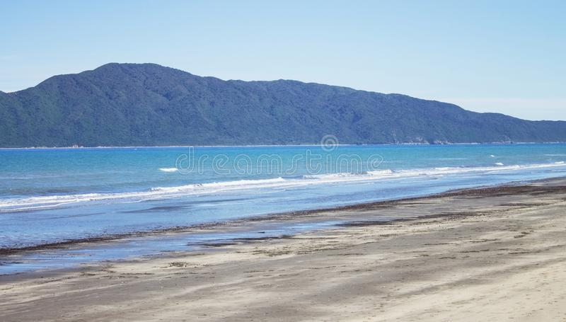 Kapiti Island from Paraparaumu Beach, Wellington, New Zealand. Landscape view of Kapiti Island from Paraparaumu Beach, Wellington, New Zealand royalty free stock images