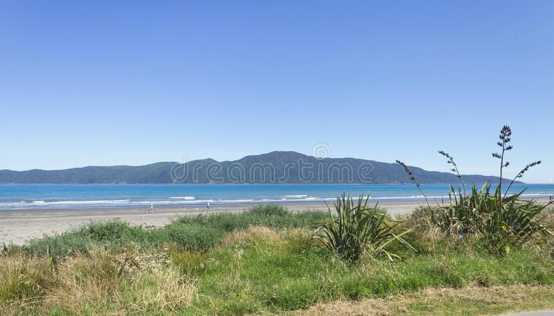 Kapiti Island from Paraparaumu Beach on Wellington`s Kapiti Coast of New Zealand. Landscape view of Kapiti Island from Paraparaumu Beach on Wellington`s Kapiti royalty free stock image