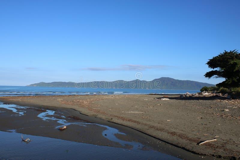 Kapiti Island from Raumati Beach, New Zealand stock image