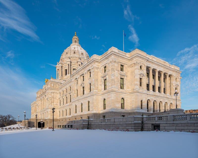 Kapitol för Minnesota-staten på Winter royaltyfria foton