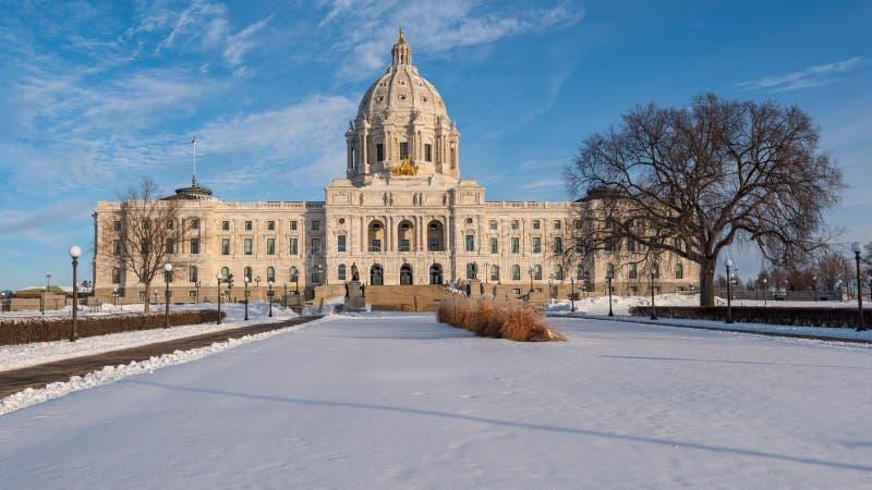 Kapitol för Minnesota-staten på Winter royaltyfria bilder