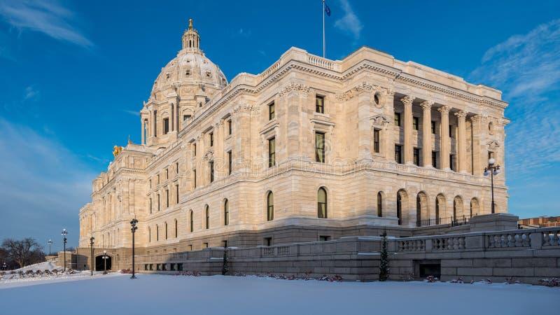 Kapitol för Minnesota-staten på Winter royaltyfri foto