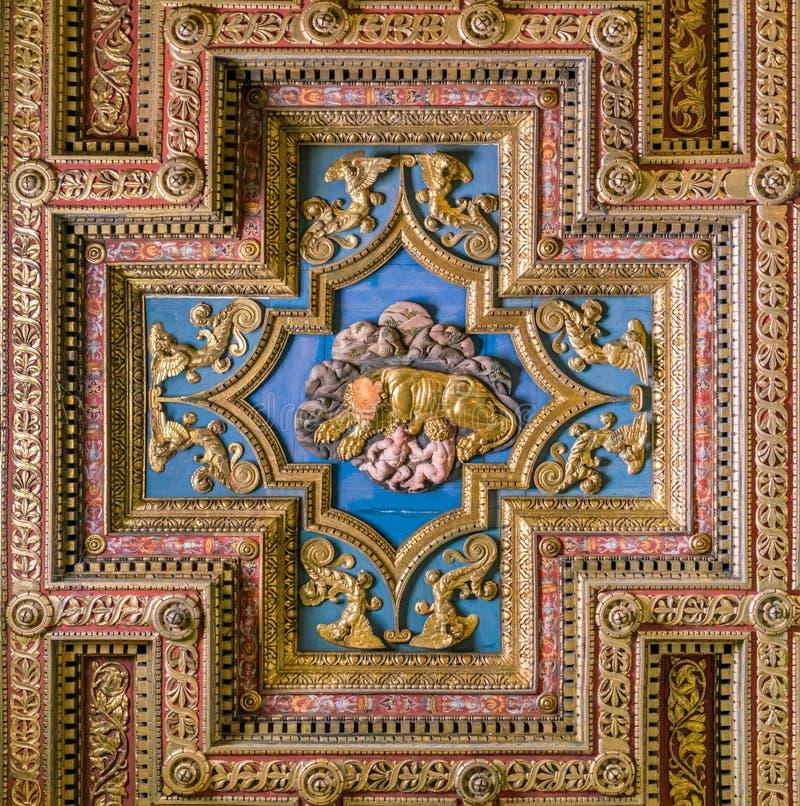 Kapitolińska Wilcza drewniana ikona na podsufitowej bazylice Santa Maria w aronach Coeli w Rzym, Włochy zdjęcia royalty free