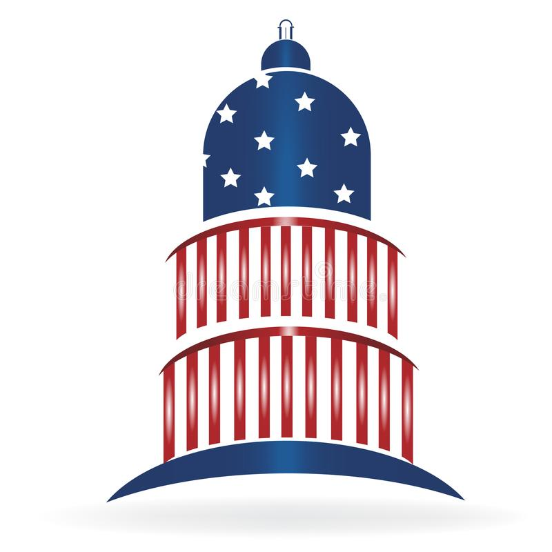 Kapitolium som bygger logo för USA flaggasymbol vektor illustrationer