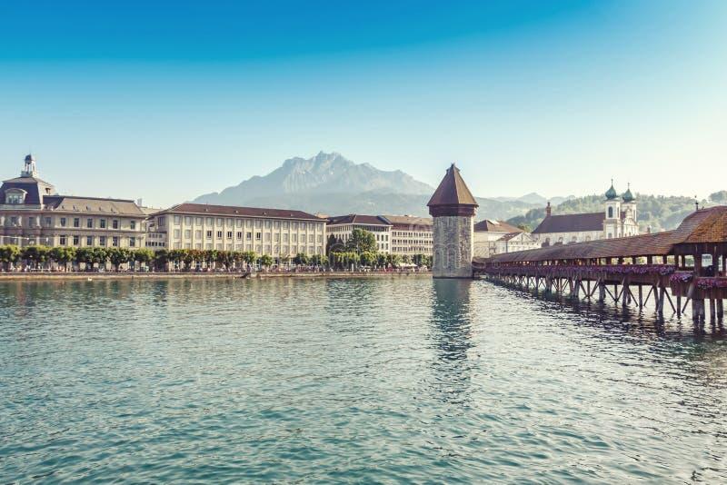 Kaplica most Szwajcaria lub Kapellbrucke obrazy stock
