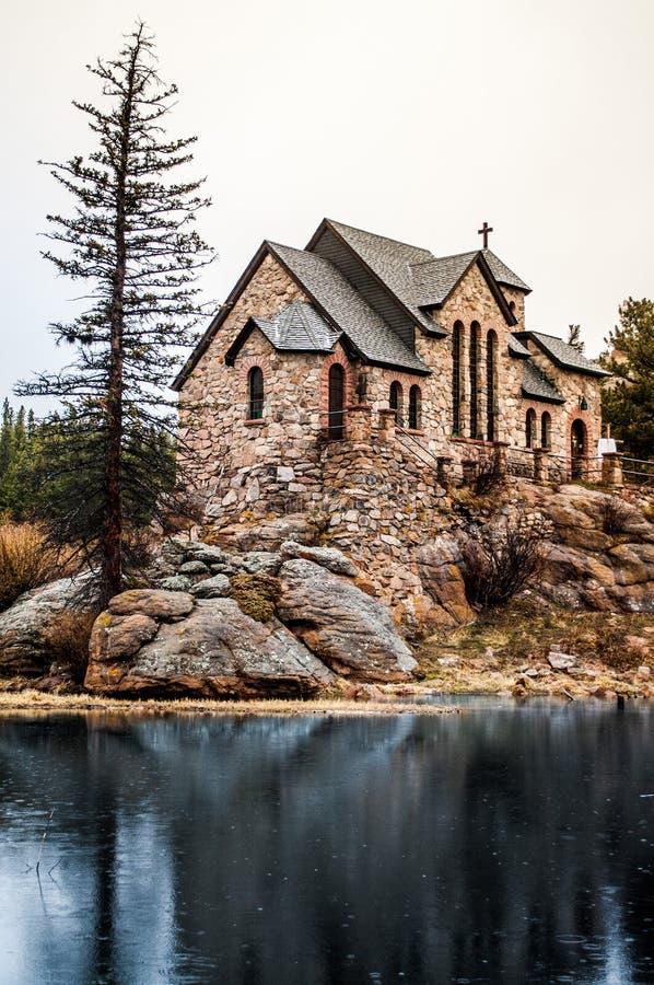 Kaplica na Rockowym Kamiennym Chruch, Estes parku - fotografia stock