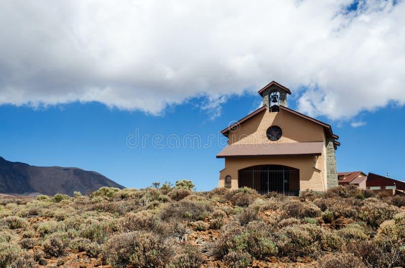 Kaplica Nasz dama śniegi Nuestra Senora De Las Nieves - najwięcej wysokości chrześcijańskiej świątyni w Hiszpania Tenerife, Canar obrazy stock