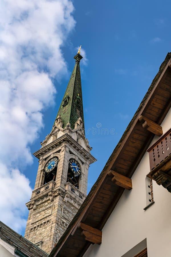Kaplica w ośrodku narciarskim w St Moritz obraz royalty free