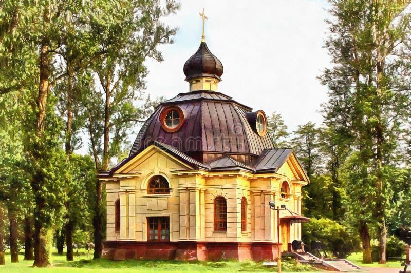 Kaplica w parku w St Petersburg royalty ilustracja