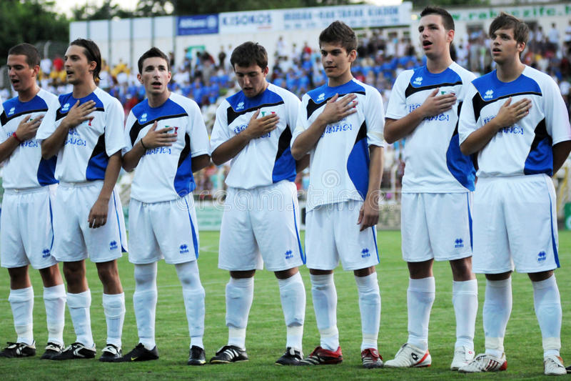 Kaposvar - Brescia-u18 Fußballspiel stockbilder