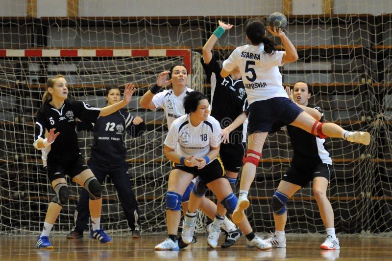 Kaposvar - Csurgo Handballspiel stockfoto