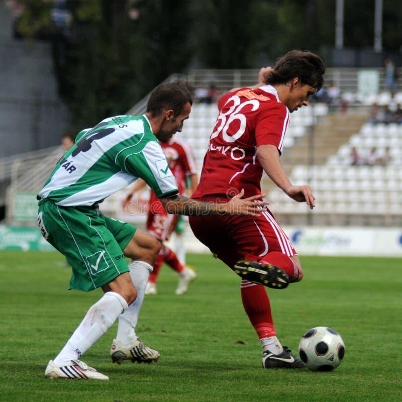 Kaposvar - Debrecen-Fußballspiel lizenzfreie stockfotografie