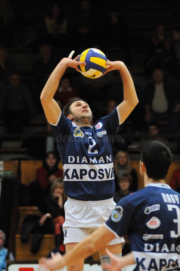 Kaposvar - Dunaferr volleyballspel royalty-vrije stock foto's