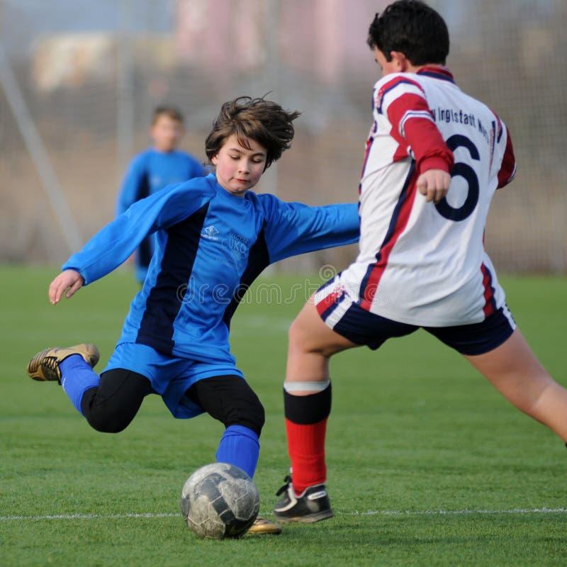 Kaposvar - het voetbalspel van Pecs U13 royalty-vrije stock afbeeldingen