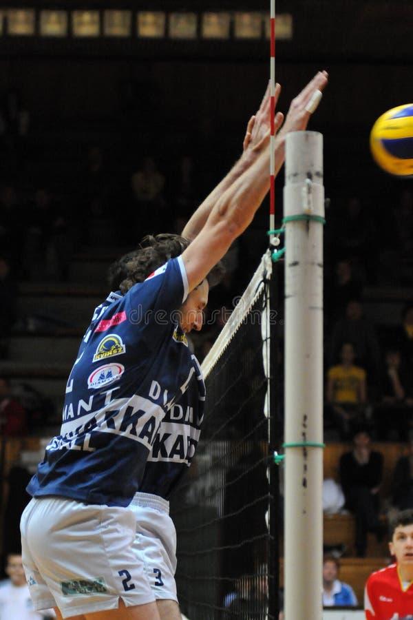 Kaposvar - het volleyballspel van Mladost Zagreb stock foto