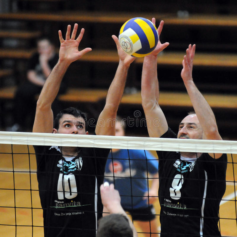 Kaposvar - het volleyballspel van Murska Sobota stock afbeeldingen