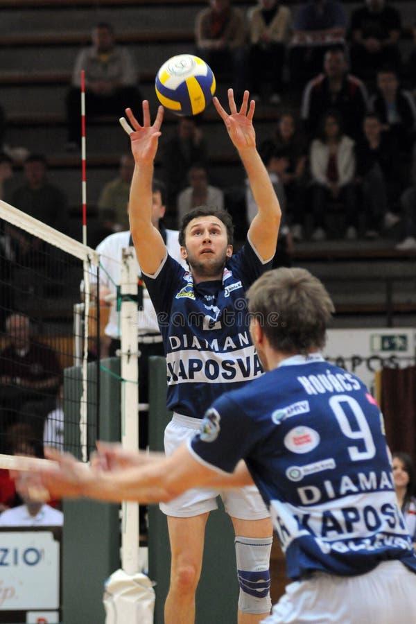Kaposvar - Kecskemet volleyballspel royalty-vrije stock foto's