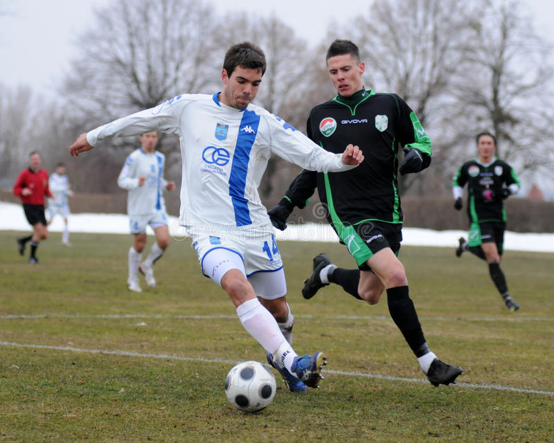 Kaposvar - Osijek Fußballspiel lizenzfreie stockbilder