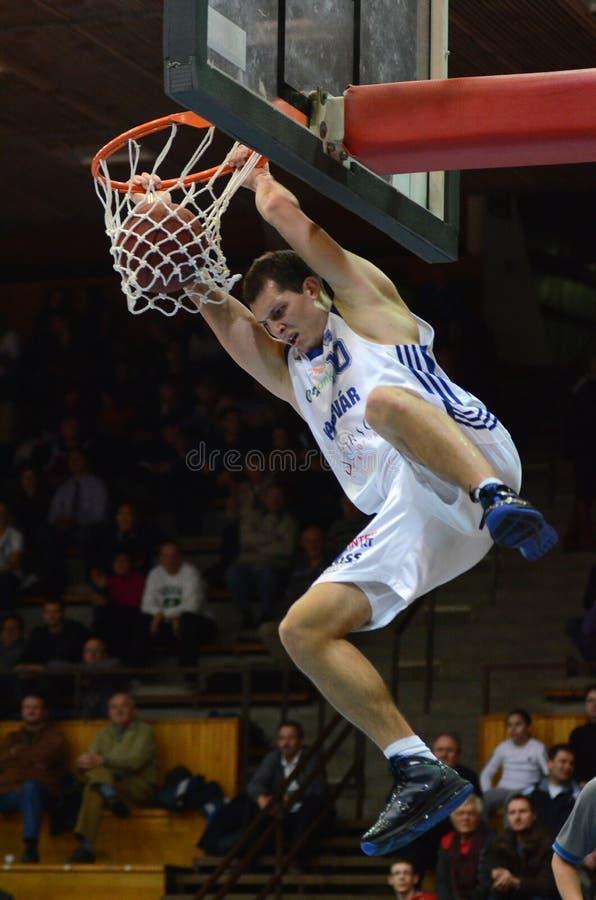 Kaposvar - Salgotarjan basketbalspel stock afbeeldingen