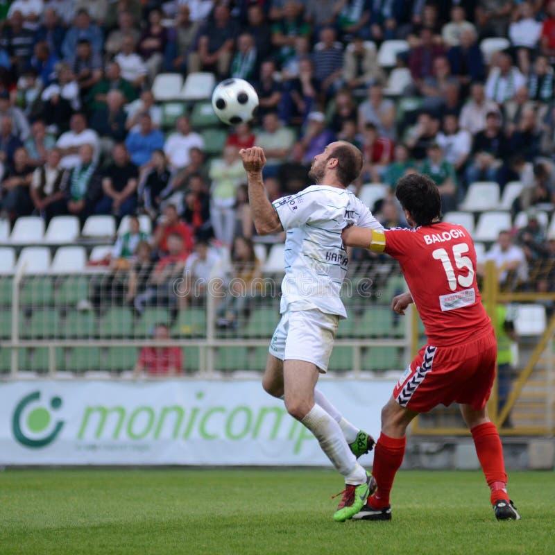 Kaposvar - Szolnok voetbalspel royalty-vrije stock afbeeldingen