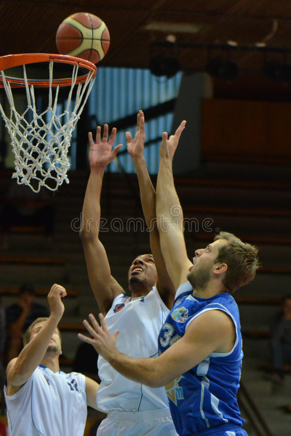 Kaposvar - Zalaegerszeg basketbalspel royalty-vrije stock foto