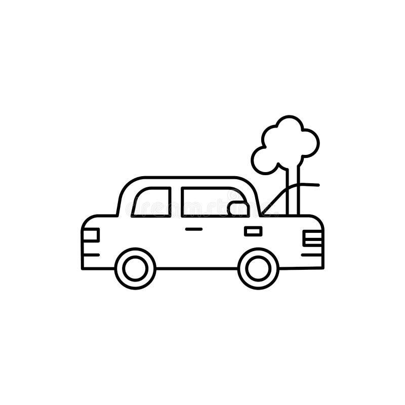 kapotte auto, schade, autolijnpictogram op witte achtergrond royalty-vrije illustratie