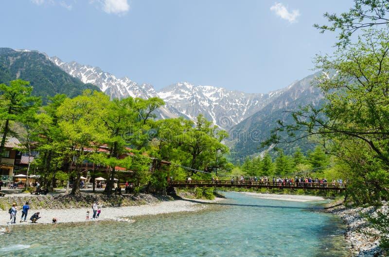Kappa bridge at kamikochi national park nagano japan royalty free stock photography