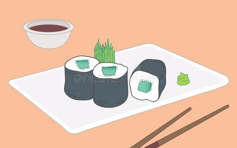 Kappa Maki Sushi illustration stock