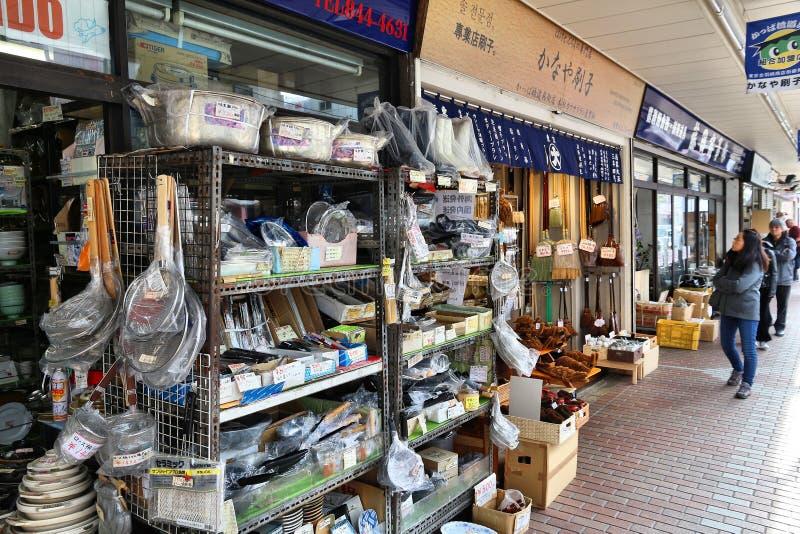 Kappabashi shopping. TOKYO, JAPAN - DECEMBER 4, 2016: People visit Kappabashi area of Asakusa in Tokyo, Japan. Kappabashi Street is known for its multiple stores stock photo